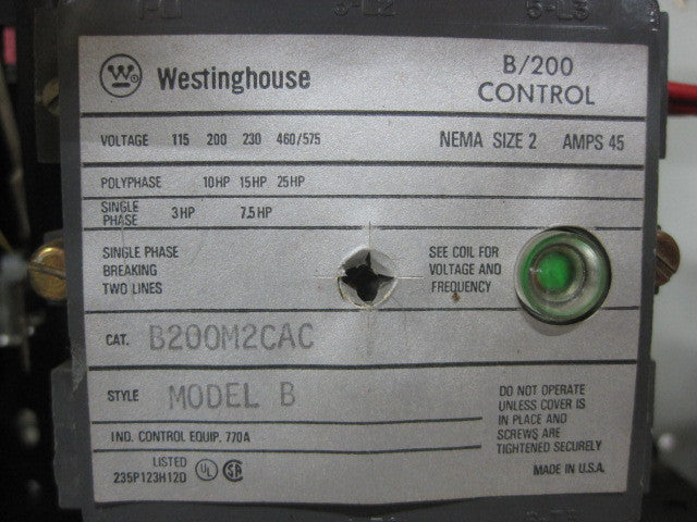 Westinghouse 2100 Series Size 2 Fusible Combination Starter MCC Bucket , B200M2CAC 5 Star , B200M2CAC , CPT IF4575 , PN: B200M2CAC