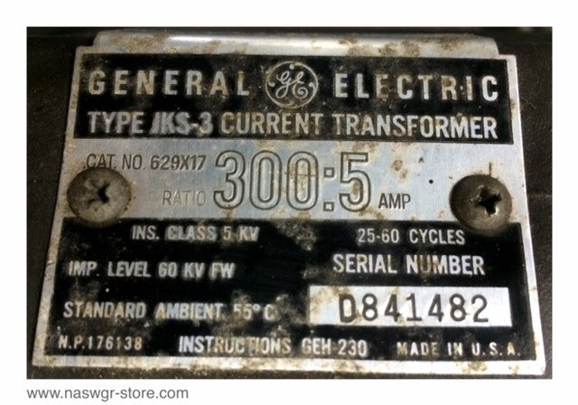 629X17 ~GE Current Transformer Type JKS-3 ~ 300:5 Amp