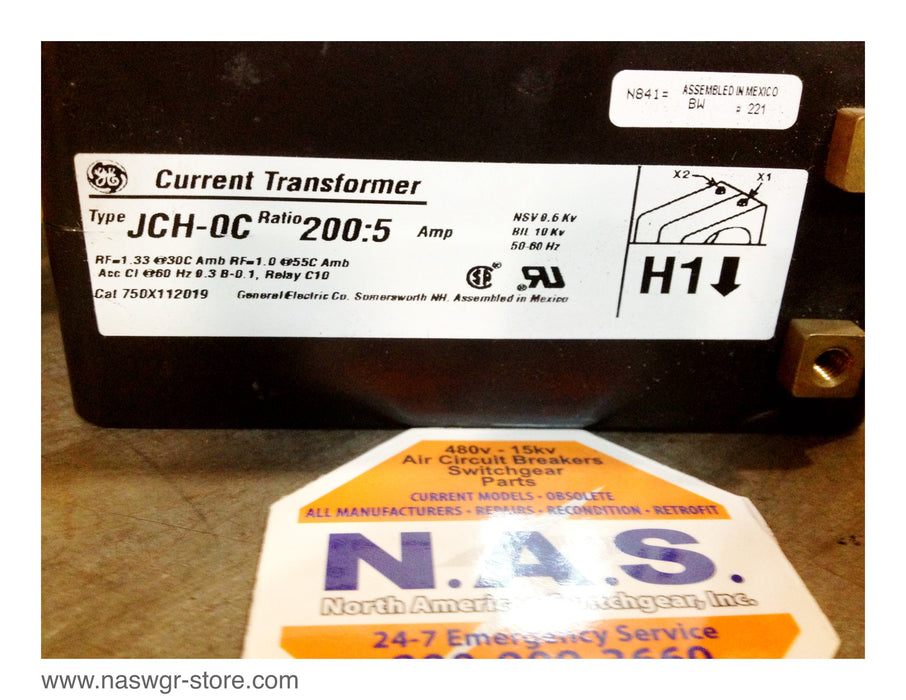 750X112019 , GE JCH-0C Current Transformer , Ratio: 200:5 , 1 1/2 Inch Window , PN: 750X112019