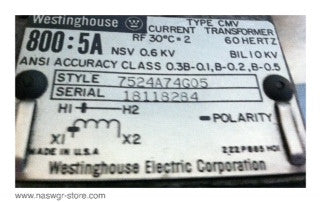 7524A74G05 , Westinghouse Current Transformer Type: CMV , 800:5A , PN: 7524A74G05
