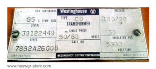 7882A26G08 , Westinghouse Transformer , Type: CD