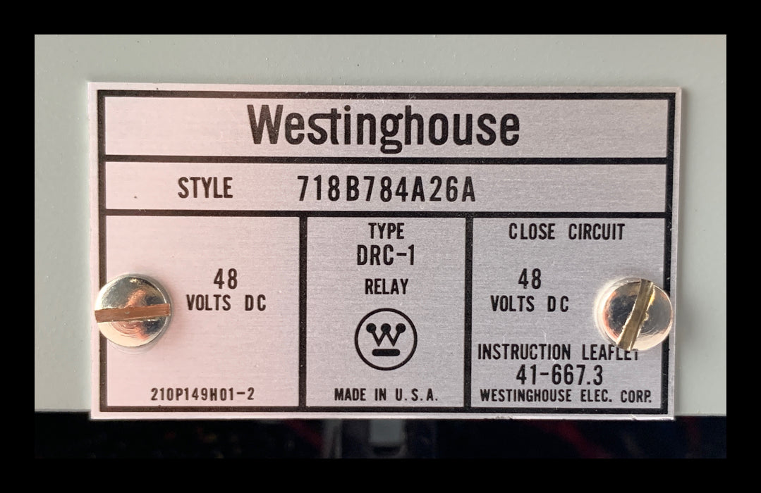 718B784A26A ~ Westinghouse DRC-1 Reclosing Relay
