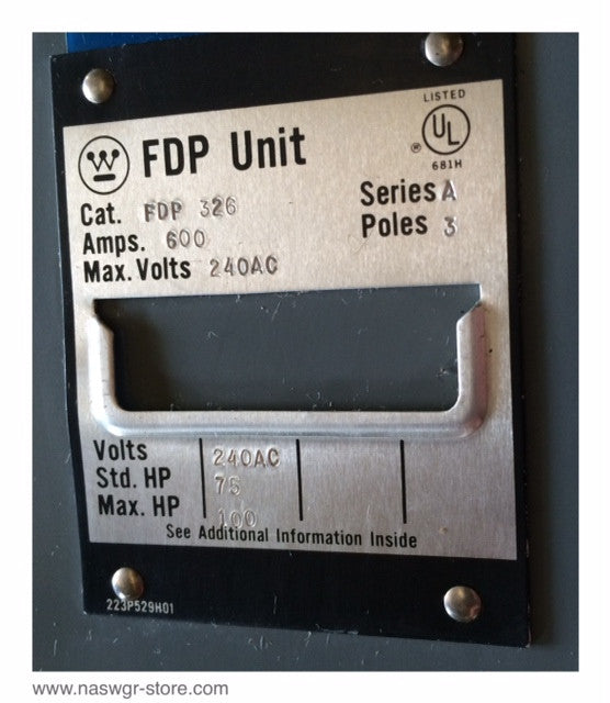 FDP326 ~ Westinghouse FDP326 Panelboard Switch ~ 600 Amp