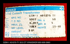 401075-T1 ~ Gould ITE GSM-1 401075-T1 50:5 Zero Sequence Current Transformer