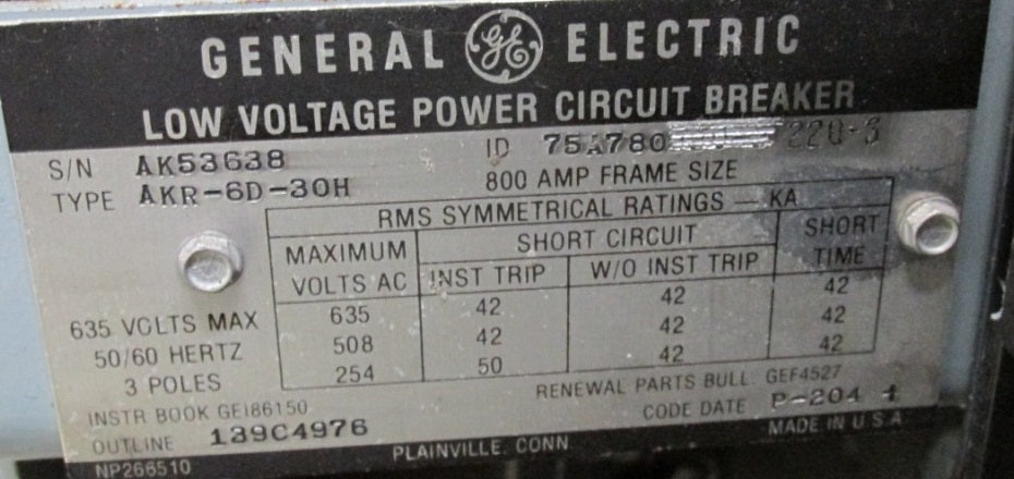 AKR-6D-30H - General Electric Low Voltage Power Circuit Breaker