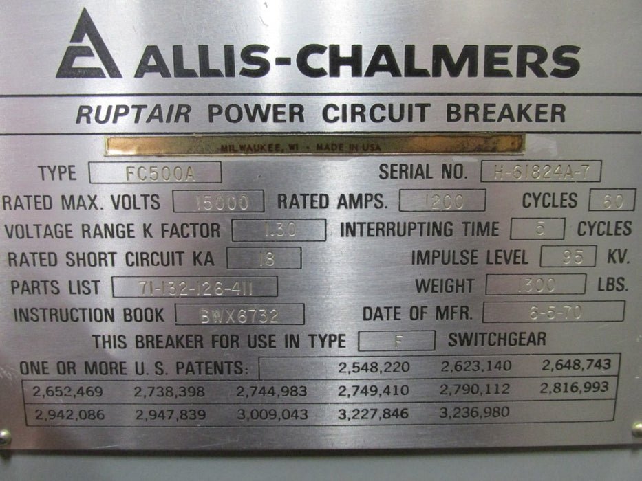 FC-500A Allis Chalmers - Ruptair Power Circuit Breaker