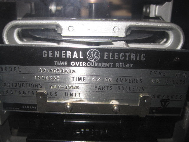 GE Type IAC Time Overcurrent Relay, PN: 12IAC51A1A