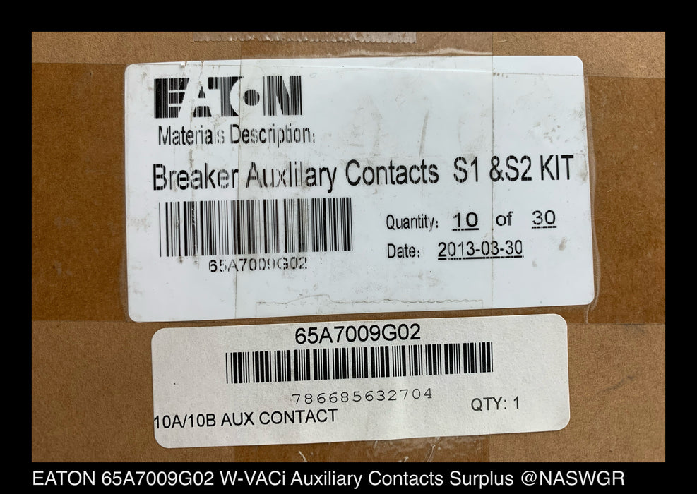 EATON 65A7009G02 Breaker Auxiliary Contacts S1 & S2 Kit Surplus W-VACi