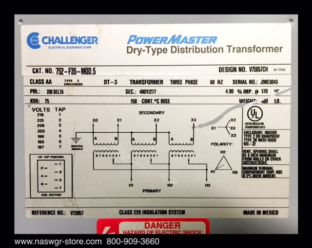 Challenger 752-F35-MOD 5 Power Master Dry Type Distribution
