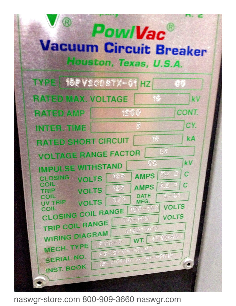 15pv2cdstx 01 Dst 15 500 Powell Circuit Breaker For Operating On Wiring Diagram Of Vacuum