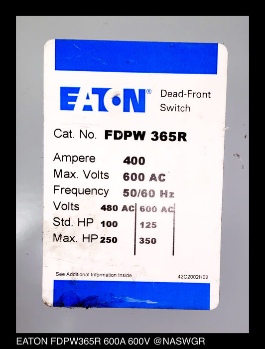 Eaton FDPW365R Dead-Front Switch