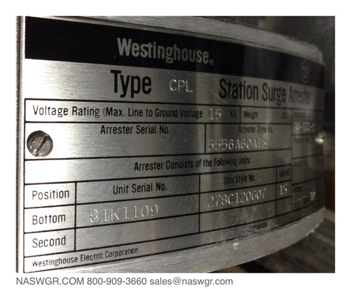 5556A60A15 , Westinghouse Type CPL Station Class Surge Arrester , Line to Ground Voltage 15kV , Unit Style 278C120G07 , 15kV CPL Lightning Arrester