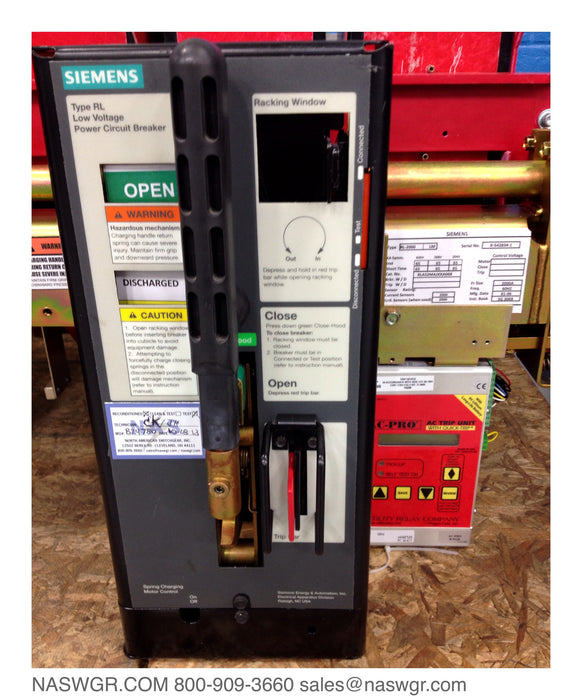 RL-2000 , SIEMENS RL-2000 Circuit Breaker , RLAS2MAJXXA068 , 2000 amp RL circuit breaker , MO/DO Class A Reconditoned with URC AC Pro
