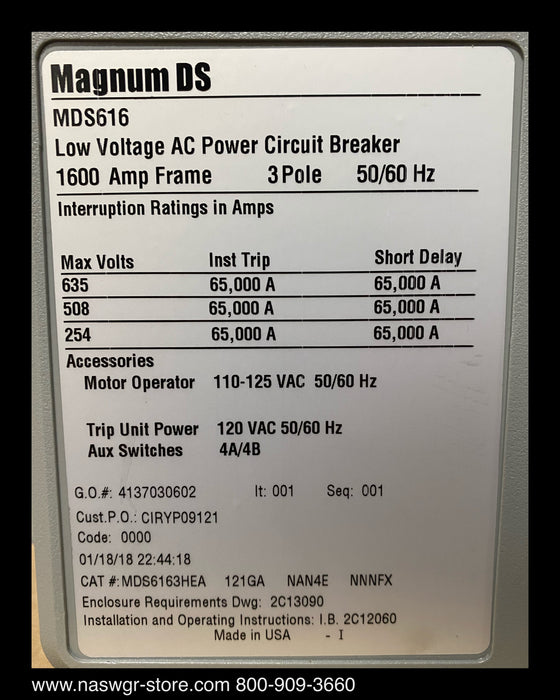 Eaton Magnum MDS616 Circuit Breaker ~ 1200 Amp - Surplus