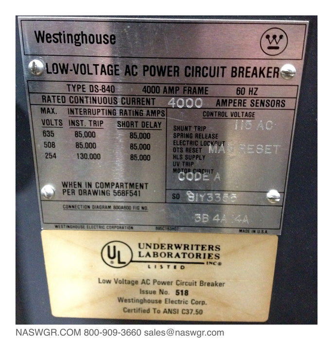 Westinghouse DS-840 Circuit Breaker, 4000A Manually Operated Drawout, Amptector II-A Model TR LSI, Shunt Trip