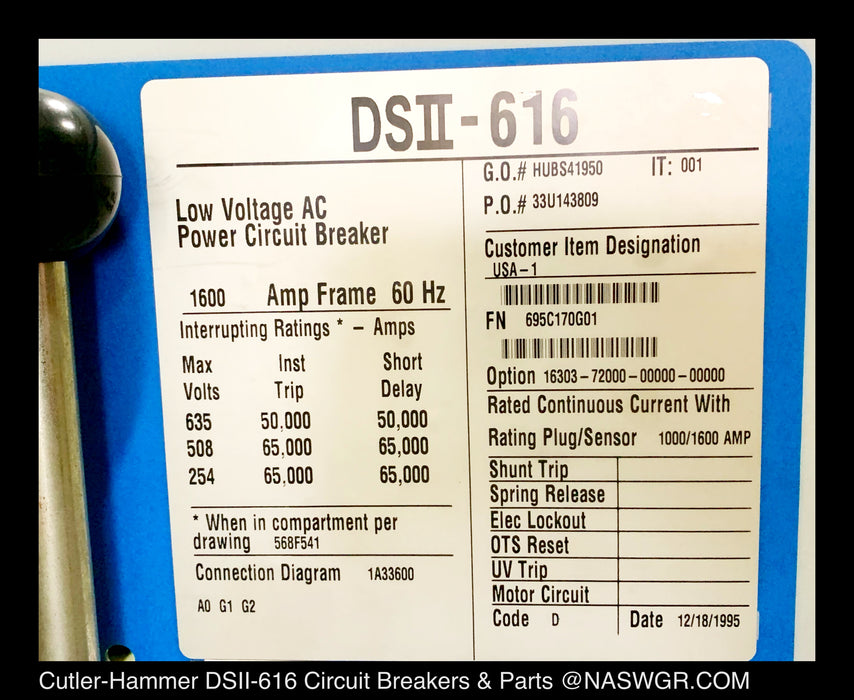 Cutler-Hammer DSII-616 Power Circuit Breaker