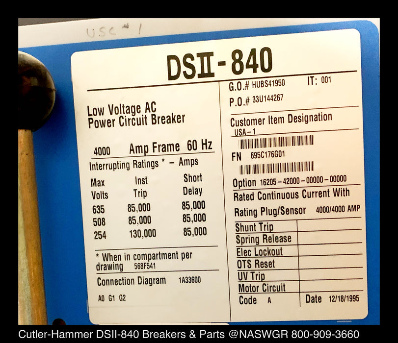 Cutler-Hammer DSII-840 Power Circuit Breaker
