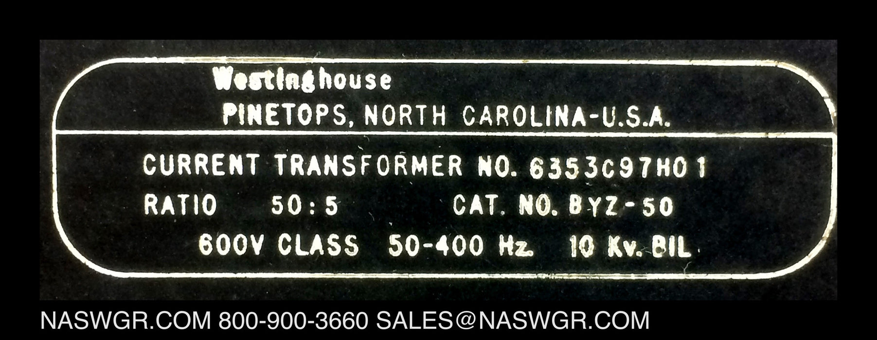 Westinghouse 6353C9701H01 Current Transformer