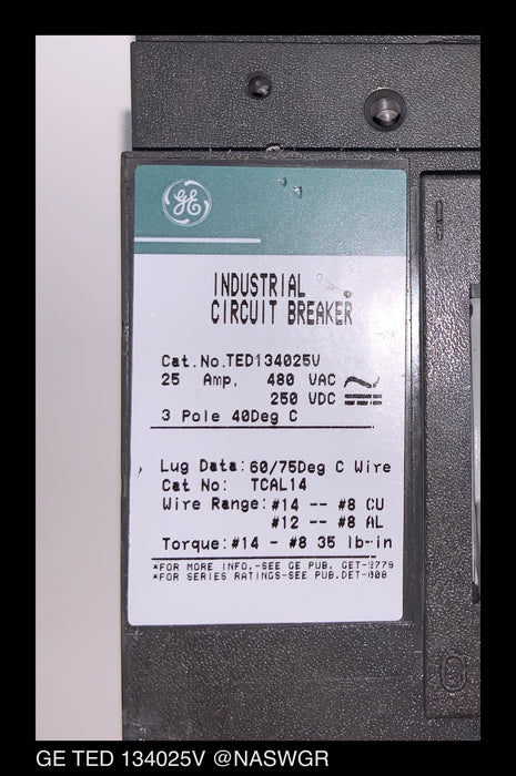 GE TED134025V Circuit Breaker ~ 25 Amps