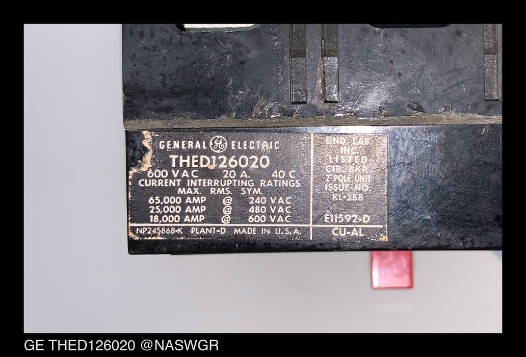 GE THED126020 Circuit Breaker ~ 20 Amp
