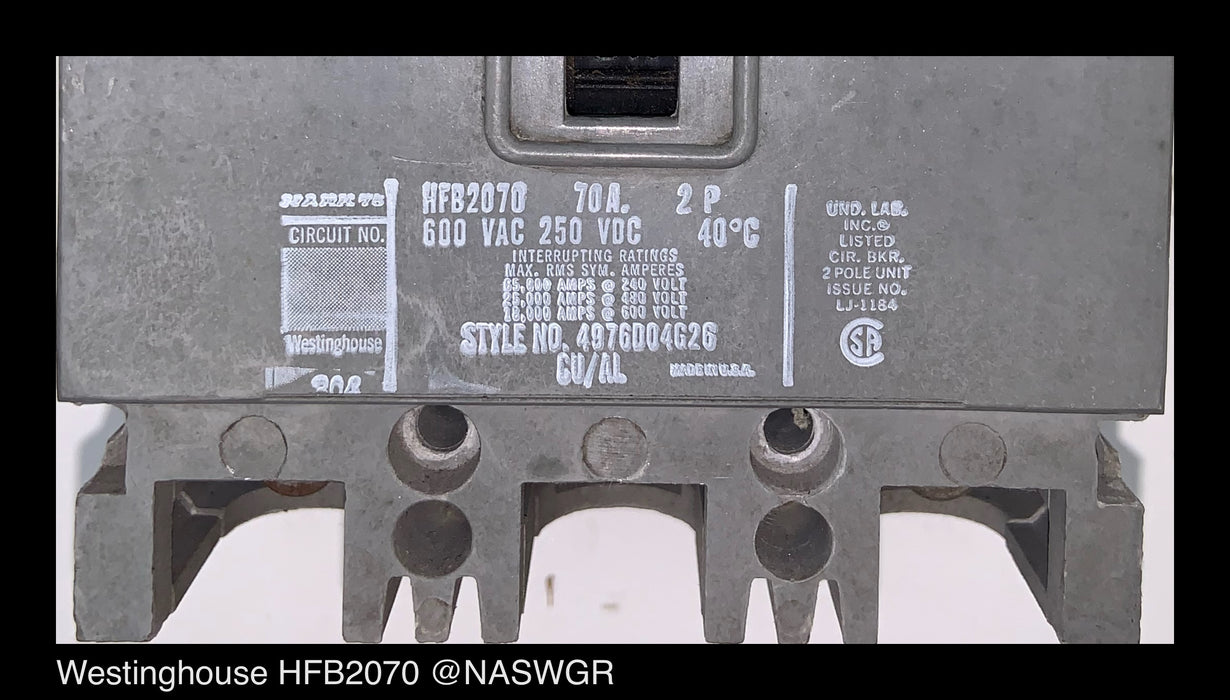 Westinghouse HFB2070 Molded Case Circuit Breaker