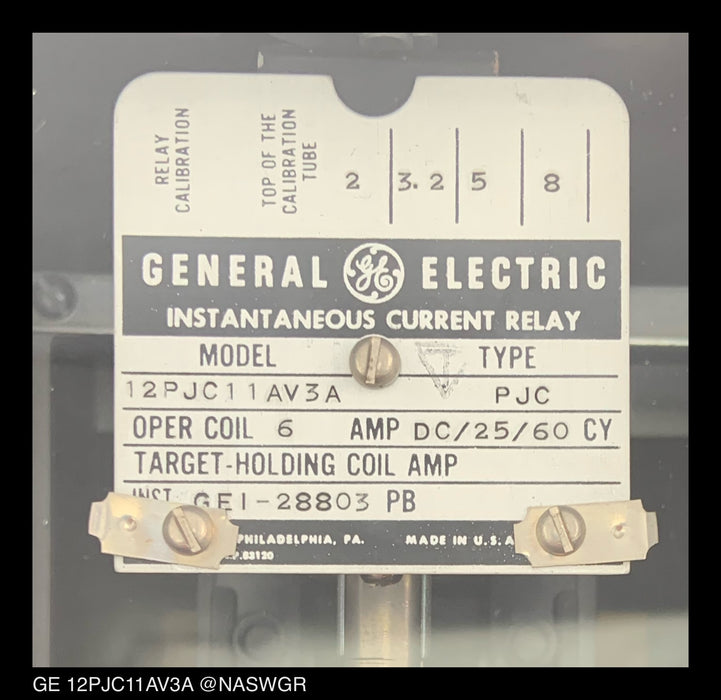 GE 12PJC11AV3A Instantaneous Current Relay