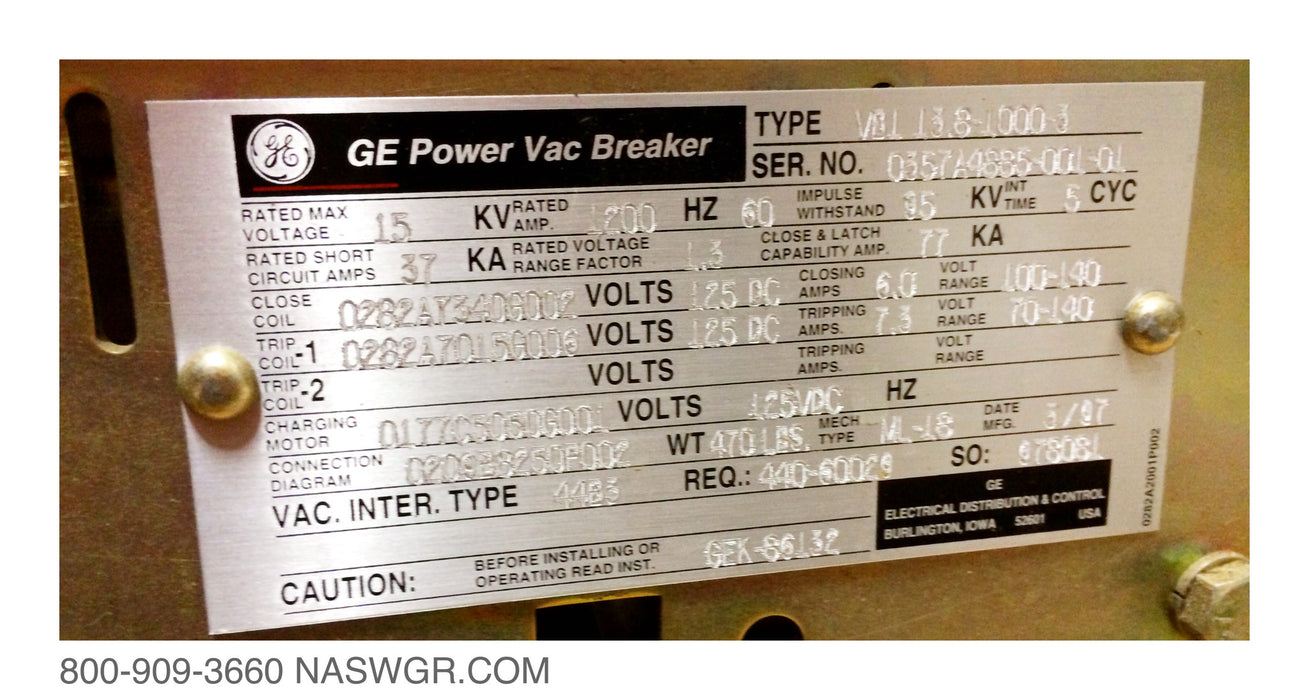 GE VB1-13.8-1000-3 , VB1-13.8-1000  Circuit Breaker 1200 amp ~ GE PowerVac