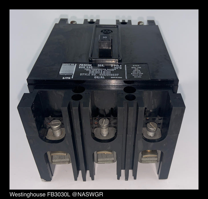 Westinghouse FB3030L Molded Case Circuit Breaker