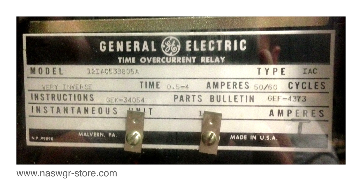 12IAC53B805A , GE 12IAC53B805A Time Overcurrent Relay , Type: IAC , Very Inverse Time: 0.5-4 Amperes , 50/60 Cycles , PN: 12IAC53B805A