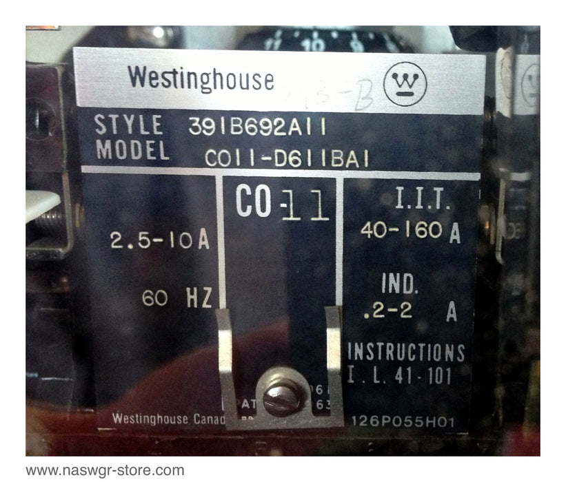 CO11D611BA1 , Westinghouse CO11-D611BA1 Relay , CO-11 , Style: 391B692A11 , 2.5-10A , 60 Hz , I.I.T. 40-160A , IND. .2-2A , PN: CO11D611BA1