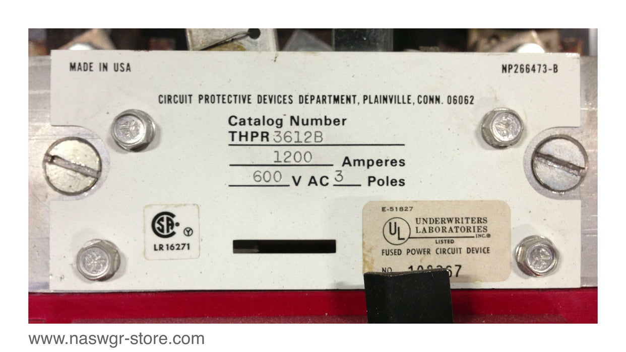 THPR3612B , GE THPR3612B High Pressure Contact Switch 1200 Amp ~ Type HPR
