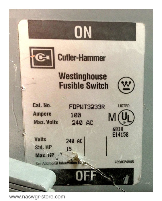 FDPWT3233R ~ Cutler Hammer FDPWT3233R Fusible Switch ~ 100 Amp