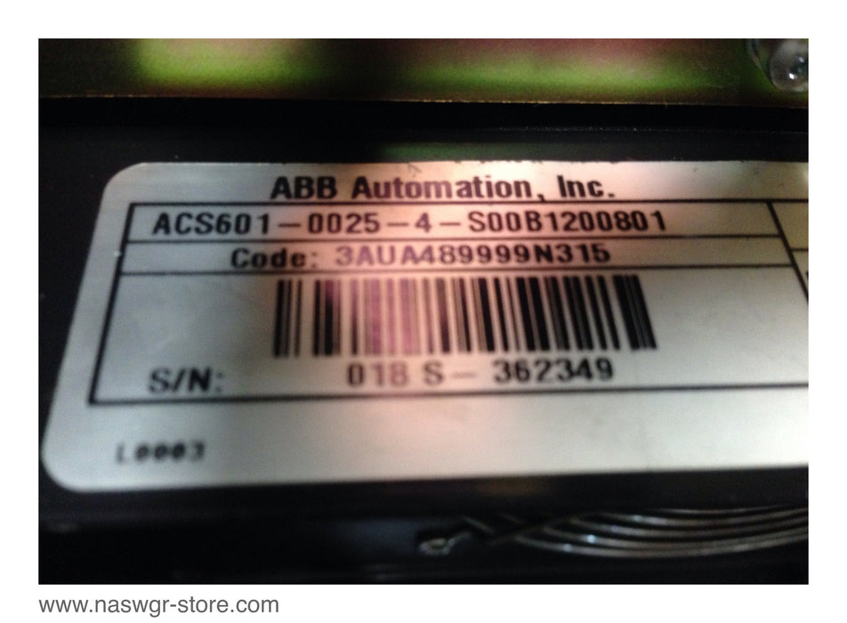 ABB ACS 600 FREQUENCY DRIVE ACS601-0006-4-S00B1200801 , Code: 3AUA489999N315 Minor Crack