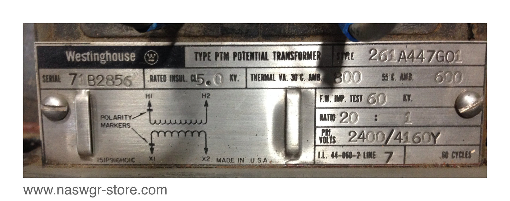 261A447G01 , Westinghouse 261A447G01 Potential Transformer , Ratio: 20:1 , PRIM. Volts: 2400/4160Y , PN: 261A447G01