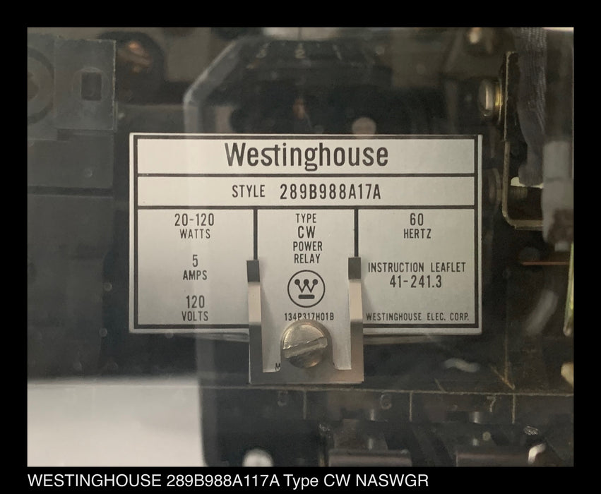 Westinghouse 289B988A17A Type CW Relay 5 amp 120 volt