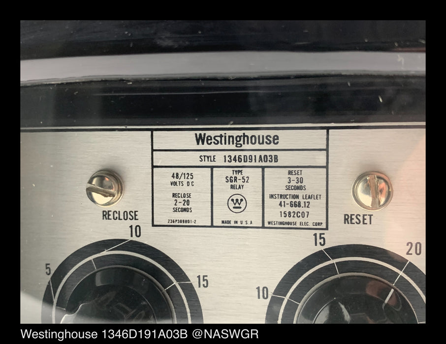 Westinghouse 1346D191A03B Type SGR-52 Relay