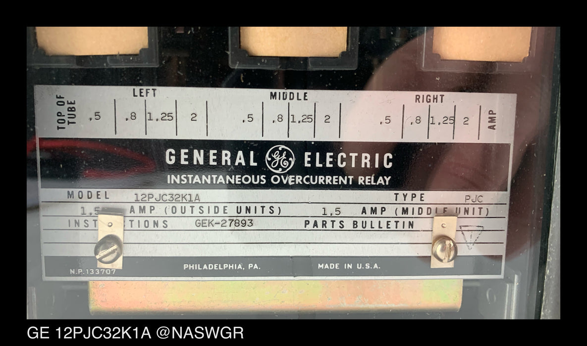 GE 12PJC32K1A Instantaneous Overcurrent Relay