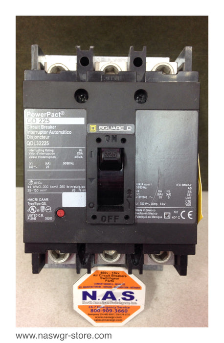 QDL32225 , QD225 , Square D Power Pact QDL32225 Circuit Breaker , 240V , 50/60Hz , 225 Amp , PN: QDL32225