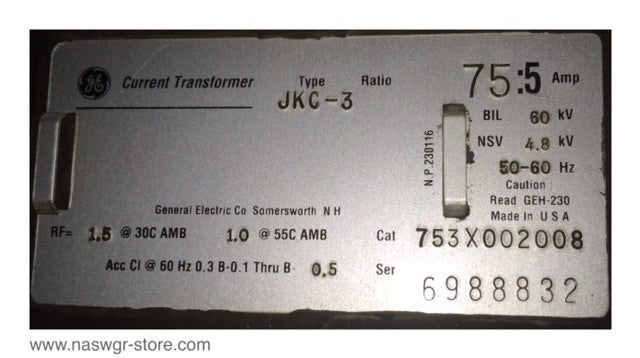 753X002008 , GE 753X002008 Type JKC-3 Current Transformer
