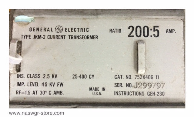 752X40G11 ~ GE Type JKM-2 752X40G11 Current Transformer ~ Ratio: 200:5
