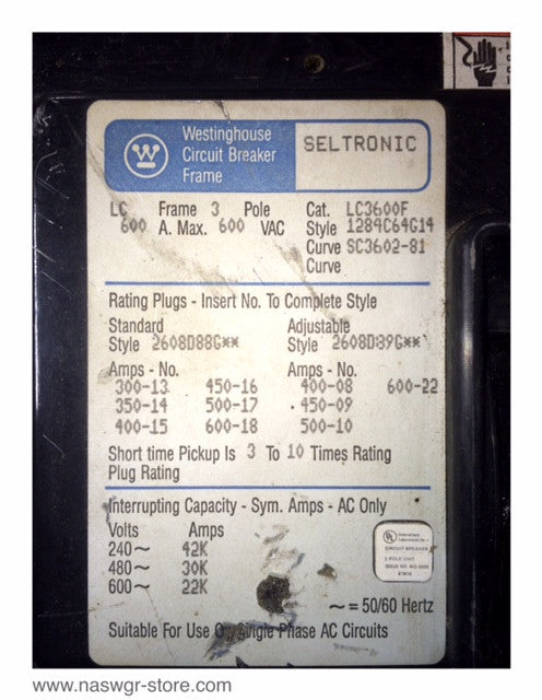 Westinghouse Time Capsules: Westinghouse LC3600F Circuit Breaker ~ 600 Amp