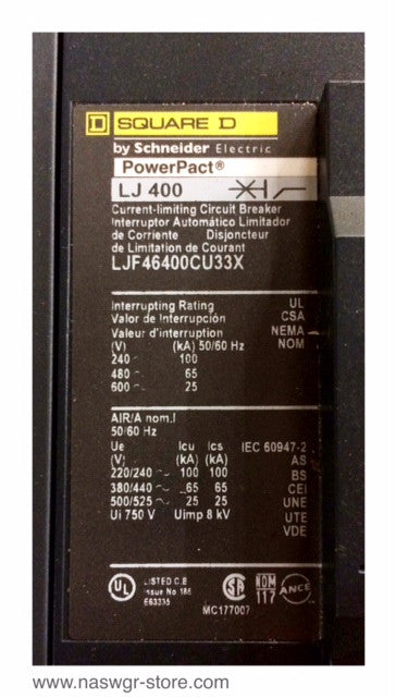 LJF46400CU33X , Square D / Schneider Electric PowerPact Circuit Breaker , Type LJ 400 , 400 Amp