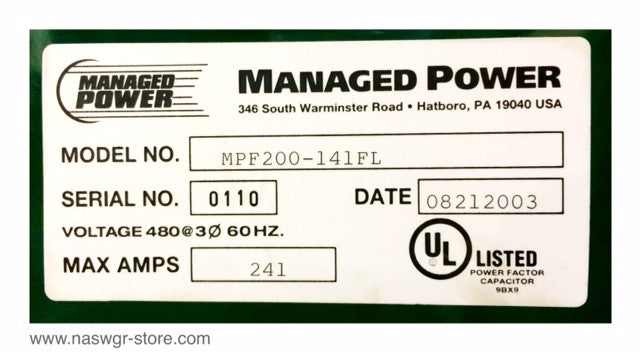 MPF-200-141FL , Managed Power MPF200141FL Transformer , Max. Amps 241