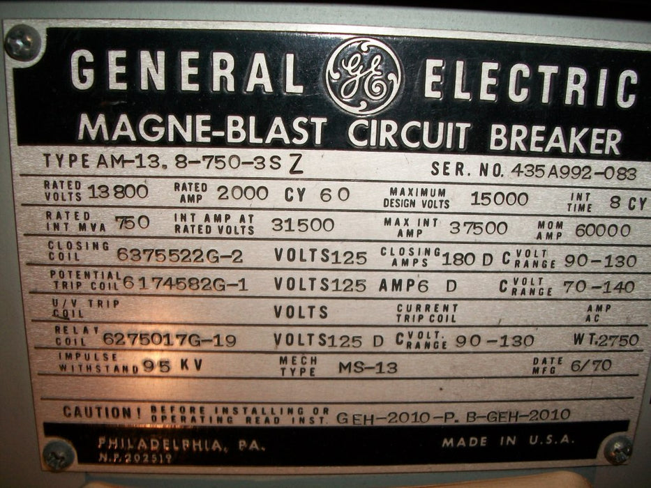 AM13.8-750-3SZ - General Electric Circuit Breaker