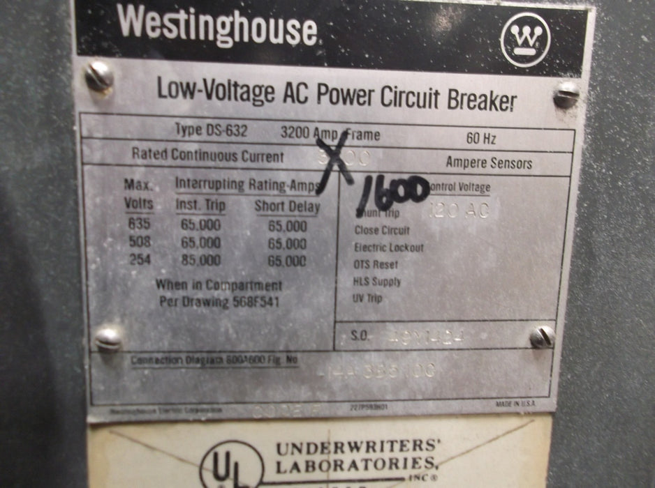 DS-632 Westinghouse Low Voltage AC Power Circuit Breaker