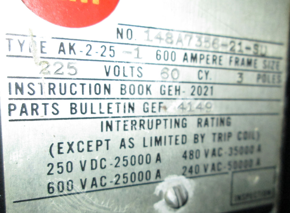 AK-2A-25-SPECIAL - General Electric Low Voltage Power Circuit Breaker