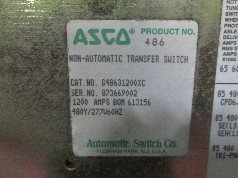NON-AUTOMATIC TRANSFER SWITCH / G48631200XC ASCO