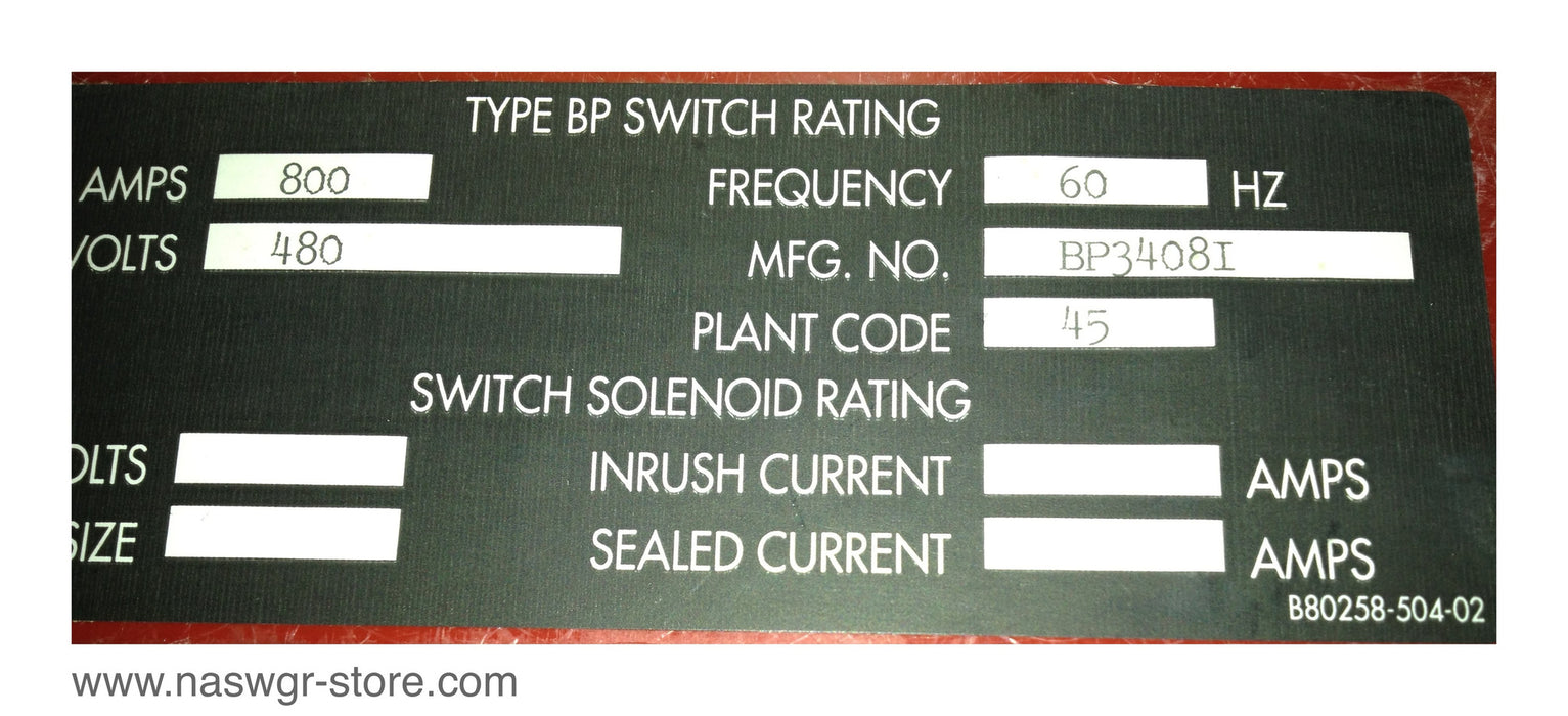 BP3408I ~ Square D BP3408I Bolted Pressure Switch ~ Style: BP3408I ~ BPO3620Z ~ Type: BP ~ 800 Amp