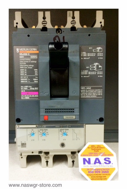 NSJ400H , Merlin Gerin NSJ400H Circuit Breaker 400 Amp 3 Pole STR23SP