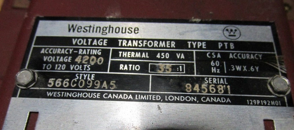 Westinghouse 566C099A5 PTB 35:1 Voltage Transformer